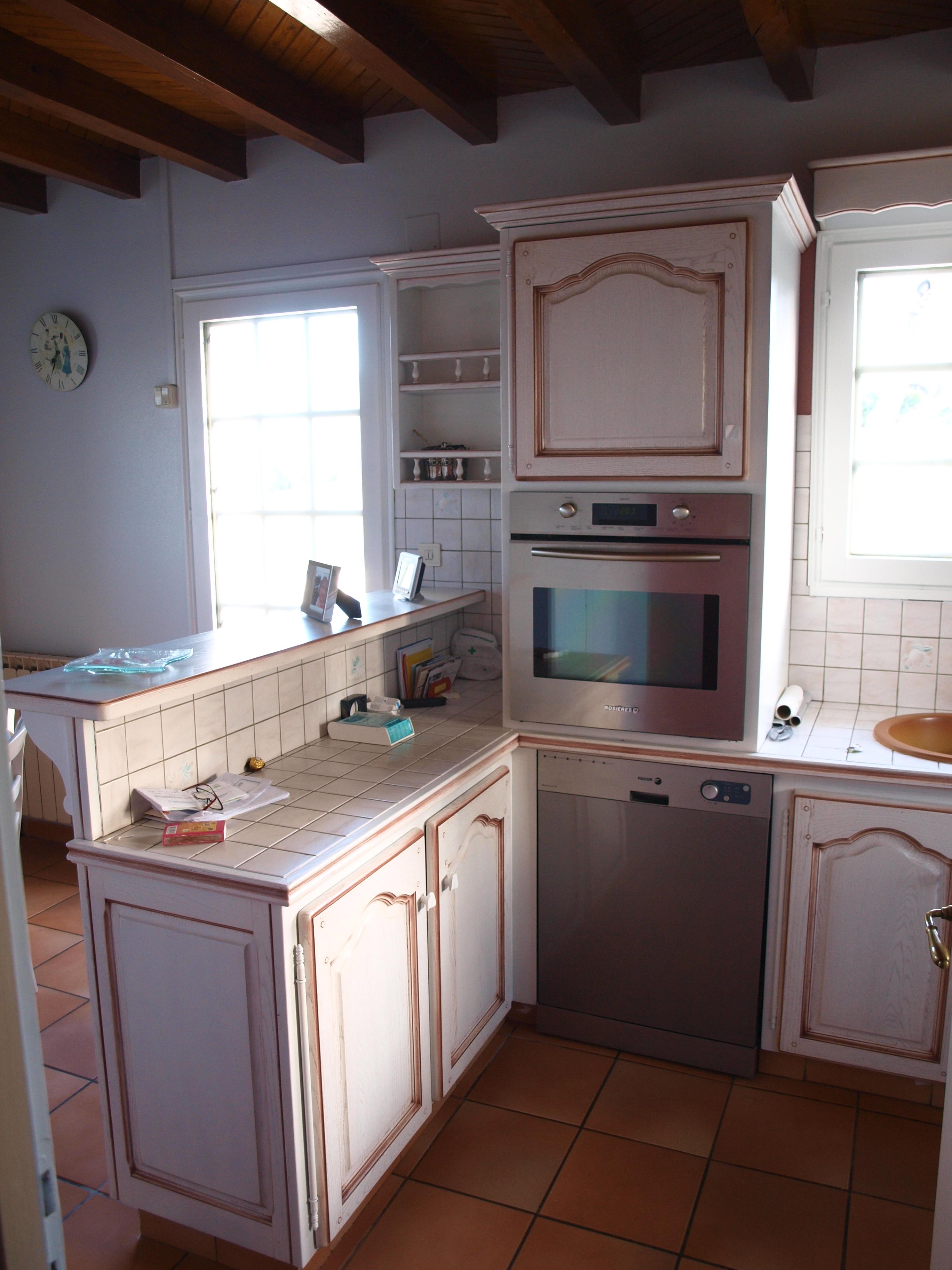 cuisine chêne laque blanc cassé cérusé/rechampi rouille