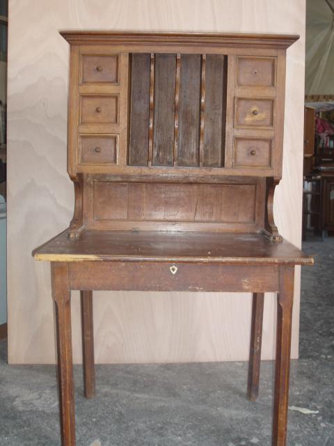 table à écrire bois exotique avec rangement haut