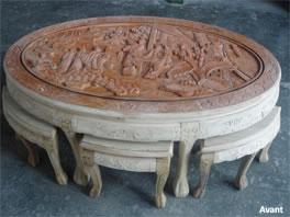 table de salon orientale avec ses 6 tabourets en teck