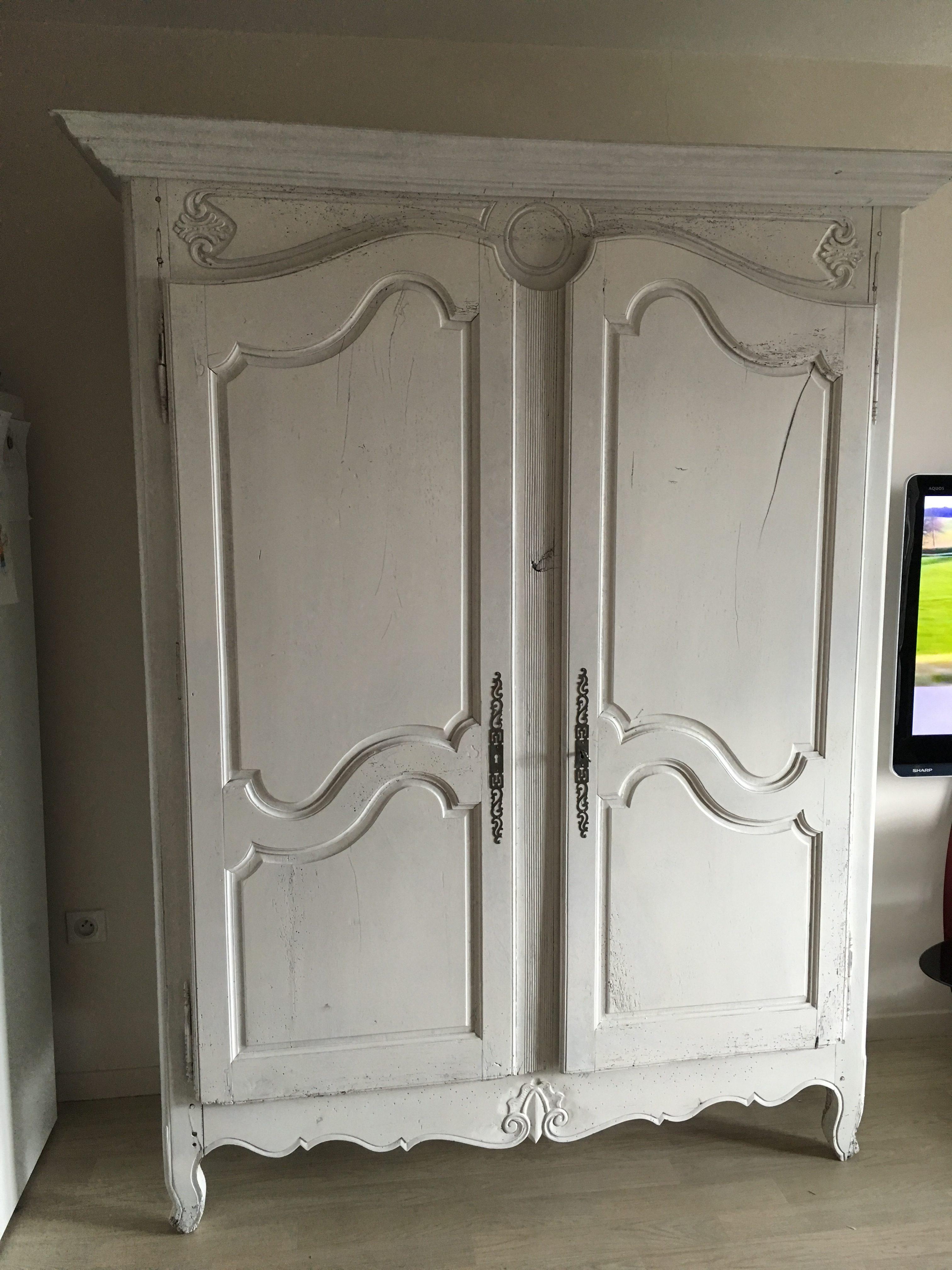 armoire chêne laque ivoire