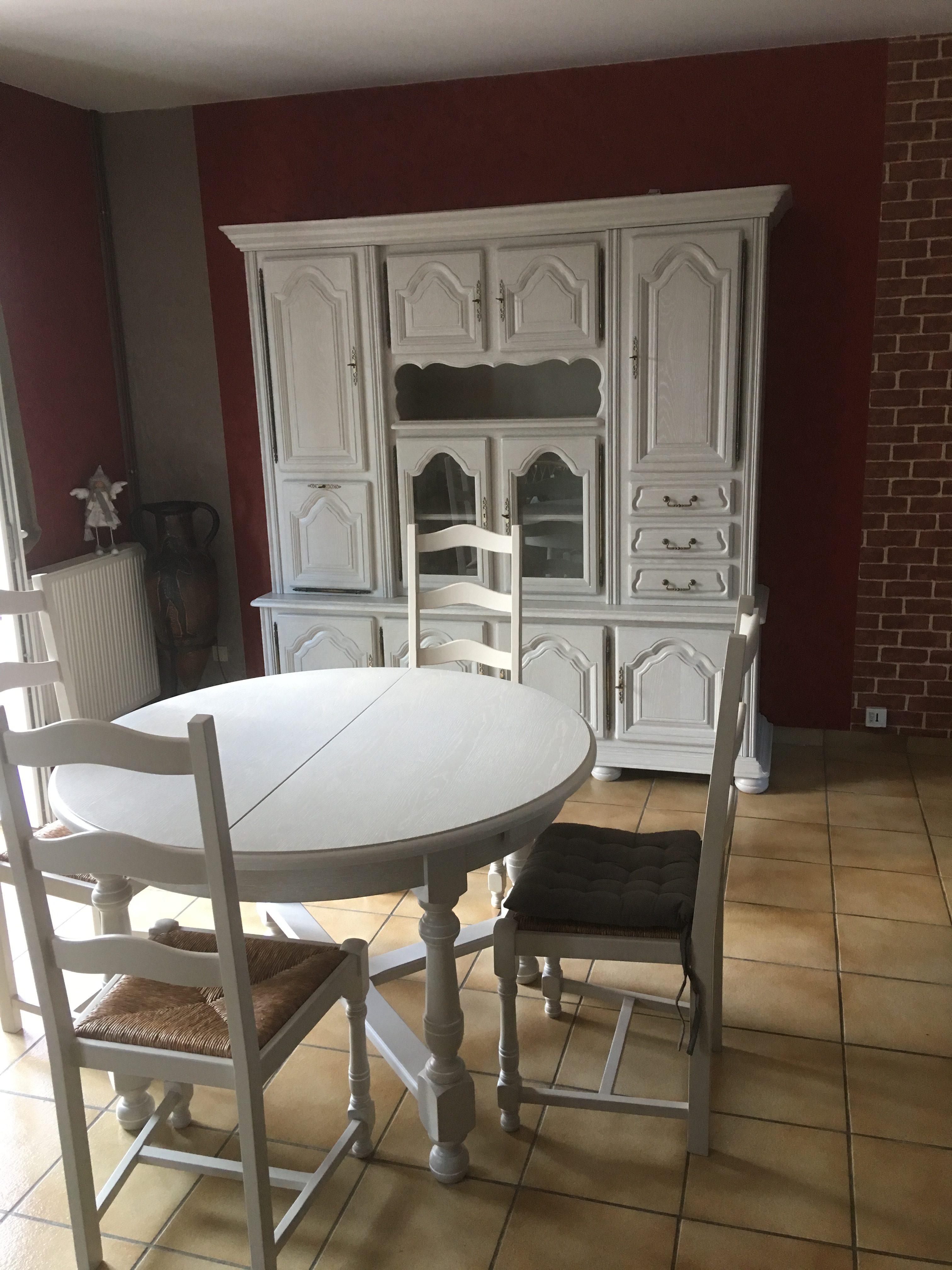 salle à manger louis XV finition laque lin cérusé blanc